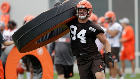 <p>               FILE - In this Thursday, July 26, 2018, file photo, Cleveland Browns defensive end Carl Nassib runs a drill during NFL football training camp, in Berea, Ohio. Browns defensive end Nassib needs to work on more than his pass rushing skills in training camp. His grandma wants him to clean up his language. (AP Photo/Tony Dejak, File)             </p>