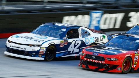 <p>               Kyle Larson (42) leads Joey Logano (22) on a restart during a NASCAR Xfinity Series auto race on Friday, Aug. 17, 2018, in Bristol, Tenn. (AP Photo/Wade Payne)             </p>