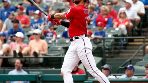 <p>               Texas Rangers Joey Gallo hits a solo home run against the Seattle Mariners during the third inning of a baseball game Wednesday, Aug. 8, 2018, in Arlington, Texas. (AP Photo/Mike Stone)             </p>
