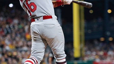 <p>               St. Louis Cardinals' Kolten Wong hits an RBI single during the sixth inning against the Pittsburgh Pirates in a baseball game Saturday, Aug. 4, 2018, in Pittsburgh. (AP Photo/Keith Srakocic)             </p>
