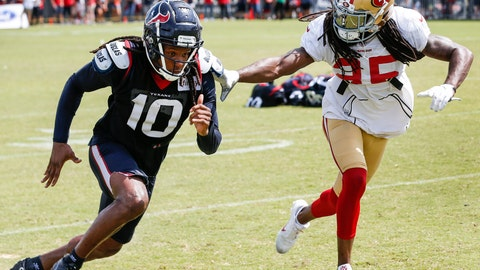 <p>               FILE - In this Aug. 16, 2018, file photo, Houston Texans wide receiver DeAndre Hopkins (10) and San Francisco 49ers defensive back Richard Sherman (25) run extra drills after a joint NFL football practice in Houston.  Sherman said Wednesday, Aug. 22, that he plans to play San Francisco's exhibition game at Indianapolis on Saturday in his first action for the 49ers at cornerback after spending his first seven seasons playing for NFC West rival Seattle. (Brett Coomer/Houston Chronicle via AP, File)             </p>