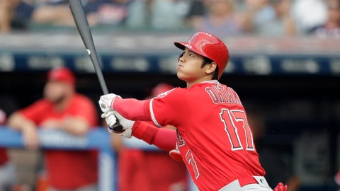 <p>               Los Angeles Angels' Shohei Ohtani watches his two-run home run off Cleveland Indians starting pitcher Mike Clevinger during the first inning of a baseball game Friday, Aug. 3, 2018, in Cleveland. (AP Photo/Tony Dejak)             </p>