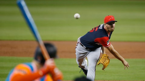 <p>               Atlanta Braves' Kevin Gausman delivers a pitch during the first inning of a baseball game against the Miami Marlins, Sunday, Aug. 26, 2018, in Miami. (AP Photo/Wilfredo Lee)             </p>