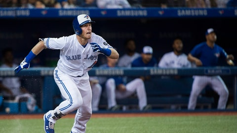 <p>               Toronto Blue Jays' Billy McKinney (28) hits a two-run RBI-single against the Baltimore Orioles during the fourth inning of a baseball game, Tuesday, Aug. 21, 2018, in Toronto. (Nathan Denette/The Canadian Press via AP)             </p>
