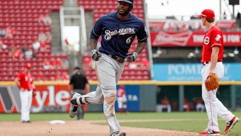 <p>               Milwaukee Brewers' Lorenzo Cain runs the bases after hitting a solo home run off Cincinnati Reds relief pitcher Austin Brice in the eleventh inning of a baseball game, Thursday, Aug. 30, 2018, in Cincinnati. (AP Photo/John Minchillo)             </p>