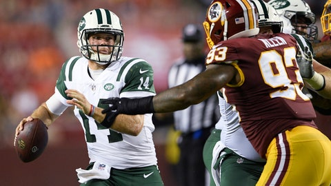 <p>               New York Jets quarterback Sam Darnold (14) looks to pass as Washington Redskins defensive end Jonathan Allen (93) is blocked during the first half of a preseason NFL football game Thursday, Aug. 16, 2018, in Landover, Md. (AP Photo/Nick Wass)             </p>