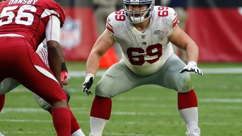 <p>               FILE - In this Dec. 24, 2017, file photo, New York Giants center Brett Jones (69) works at the line of scrimmage during the team's NFL football game against the Arizona Cardinals in Glendale, Ariz. The Minnesota Vikings have acquired Jones in a trade with the  Giants for a 2019 draft pick. The Vikings announced the deal, contingent on Jones passing a physical exam, on Sunday, Aug. 25. The news came hours after coach Mike Zimmer said center Pat Elflein would not return to practice this week, the second-year starter still rehabilitating from offseason surgeries on his ankle and shoulder. (AP Photo/Rick Scuteri, File)             </p>