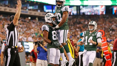 <p>               New York Jets quarterback Sam Darnold (14) runs toward Trenton Cannon (40) as he celebrates with Charles D. Johnson (88) after Johnson caught a pass for a touchdown during the first half of a preseason NFL football game against the Atlanta Falcons, Friday, Aug. 10, 2018, in East Rutherford, N.J. (AP Photo/Adam Hunger)             </p>
