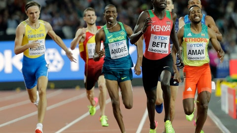 <p>               FILE - In this Aug. 6, 2018 file photo Kenya's Kipyegon Bett, second right, runs to the line to win a Men's 800m semifinal during the World Athletics Championships in London. The 800 meters world championships bronze medalist Bett has tested positive for the blood-booster EPO having already been suspended and charged with evading a doping test. He faces a four-year ban. (AP Photo/David J. Phillip, File)             </p>