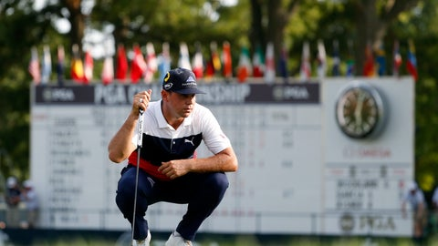 <p>               Gary Woodland looks at a putt on the 18th green during the first round of the PGA Championship golf tournament at Bellerive Country Club, Thursday, Aug. 9, 2018, in St. Louis. (AP Photo/Jeff Roberson)             </p>
