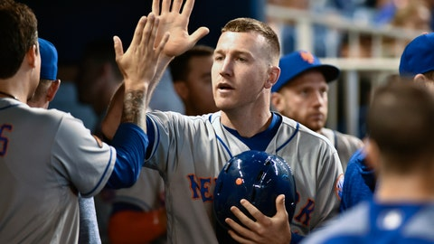 <p>               FILE - In this July 1, 2018 file photo New York Mets third baseman Todd Frazier celebrates with teammates after scoring during the second inning of a baseball game against the Miami Marlins in Miami. Some talented, young baseball players have competed at the Little League World Series over the last 71 years. Fifty-four have gone on to realize another dream _ making the majors. Frazier will be one of the three Little League veterans on hand when the Mets play the Phillies in central Pennsylvania on Sunday, Aug. 19, 2018. (AP Photo/Gaston De Cardenas)             </p>