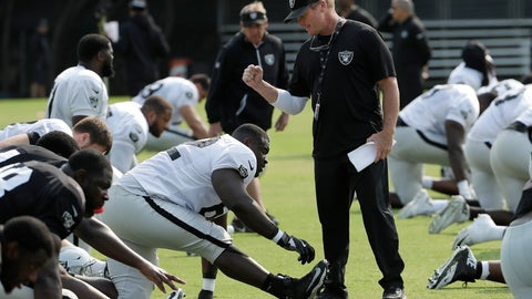 "<p>               FILE - In this Aug. 1, 2018, file photo, Oakland Raiders coach Jon Gruden, center, greets James Stone as players stretch during NFL football practice in Napa, Calif. Gruden left ""Monday Night Football"" to return to the sideline after a decade away. His brother Jay is coach of the Washington Redskins. (AP Photo/Jeff Chiu, File)             </p>"