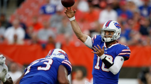 <p>               Buffalo Bills quarterback AJ McCarron throws during the first half of the team's NFL football preseason game against the Cleveland Browns, Friday, Aug. 17, 2018, in Cleveland. (AP Photo/Ron Schwane)             </p>