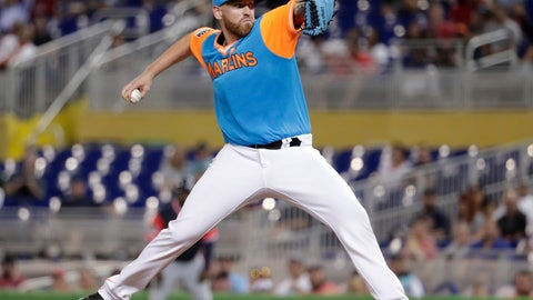 <p>               Miami Marlins starting pitcher Dan Straily delivers during the fourth inning of a baseball game against the Atlanta Braves, Friday, Aug. 24, 2018, in Miami. (AP Photo/Lynne Sladky)             </p>