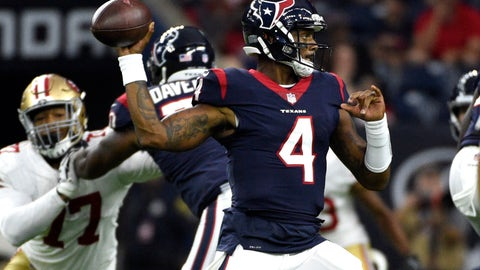 <p>               File- This Aug. 18, 2018, file photo shows Houston Texans quarterback Deshaun Watson (4) throwing a pass against the San Francisco 49ers during the first half of a preseason NFL football game, in Houston. Watson's performance in just a few games as a rookie last year has everyone looking forward to what the Houston Texans quarterback can do in a full season. But perhaps no one is more excited about Watson's potential than DeAndre Hopkins, Houston's top receiver who has suffered through a revolving door at the position since he was drafted in 2013.  (AP Photo/Eric Christian Smith, File)             </p>