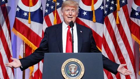 <p>               President Donald Trump speaks during the 2018 Ohio Republican Party State Dinner, Friday, Aug. 24, 2018, in Columbus, Ohio. (AP Photo/John Minchillo)             </p>