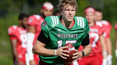 <p>               FILE - In this Aug. 9, 2018, file photo, North Carolina State quarterback Ryan Finley runs through a drill during an NCAA college football practice in Raleigh, N.C. Finley returned to school for his final season after flirting with entering the NFL draft and opens the year Saturday against James Madison. (AP Photo/Gerry Broome, File)             </p>