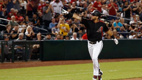 <p>               Arizona Diamondbacks' David Peralta points to the crowd as he rounds the bases after hitting a home run against the San Francisco Giants during the second inning of a baseball game Friday, Aug. 3, 2018, in Phoenix. (AP Photo/Ross D. Franklin)             </p>