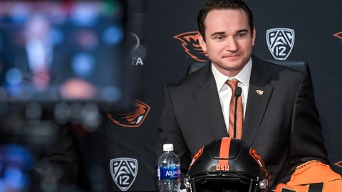 <p>               FILE - In this Nov. 30, 2017, file photo, Jonathan Smith appears at a news conference in Corvallis, Ore., announcing his hiring as head football coach at Oregon State. (Andy Cripe/The Corvallis Gazette-Times via AP, file)             </p>