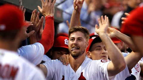 <p>               St. Louis Cardinals' John Gant is congratulated by teammates after hitting a two-run home run during the second inning of a baseball game against the Washington Nationals Tuesday, Aug. 14, 2018, in St. Louis. (AP Photo/Jeff Roberson)             </p>
