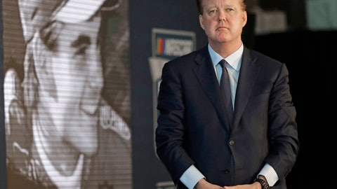 <p>               FILE - In this May 23, 2018, file photo, NASCAR Chairman Brian France watches a video of driver Jeff Gordon after after announcing Gordon will be inducted into the 2019 class of the NASCAR Hall of Fame, in Charlotte, N.C. NASCAR chairman Brian France has been arrested in New York's Hamptons for driving while intoxicated and criminal possession of oxycodone. France was arrested at 7:30 p.m. Sunday, Aug. 5, 2018, and held overnight. He was arraigned Monday at Sag Harbor Village Justice Court and released. (AP Photo/Chuck Burton, File)             </p>