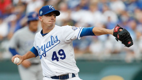 <p>               Kansas City Royals pitcher Heath Fillmyer throws to a Chicago Cubs batter during the first inning of a baseball game at Kauffman Stadium in Kansas City, Mo., Wednesday, Aug. 8, 2018. (AP Photo/Colin E. Braley)             </p>