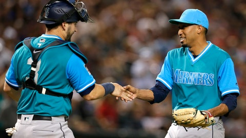 <p>               Seattle Mariners catcher Mike Zunino (3) and Edwin Diaz celebrate after the Mariners defeated the Arizona Diamondbacks 6-3 during a baseball game Friday, Aug. 24, 2018, in Phoenix. (AP Photo/Rick Scuteri)             </p>