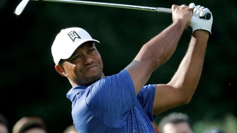 <p>               Tiger Woods tees off on the 12th hole during the first round of the Northern Trust golf tournament, Thursday, Aug. 23, 2018, in Paramus, N.J. (AP Photo/Julio Cortez)             </p>