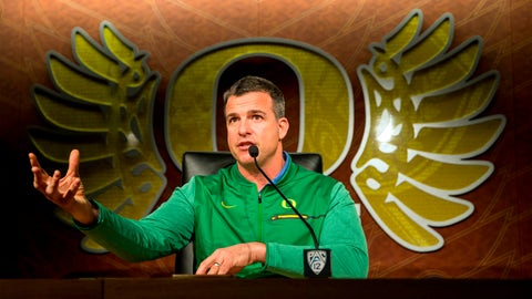 <p>               FILE -  In this March 6, 2018, file photo, Oregon football head coach Mario Cristobal gestures during a news conference in Eugene, Ore. (Andy Nelson/The Register-Guard via AP, File)             </p>