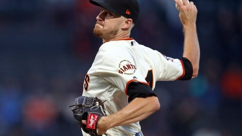 <p>               San Francisco Giants pitcher Chris Stratton works against the Arizona Diamondbacks in the first inning of a baseball game Monday, Aug. 27, 2018, in San Francisco. (AP Photo/Ben Margot)             </p>