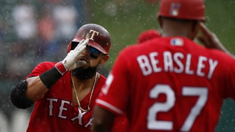 <p>               Texas Rangers' Rougned Odor is congratulated by third base coach Tony Beasley (27) after he hit a three-run home run during the seventh inning of a baseball game Sunday, Aug. 19, 2018, in Arlington, Texas. (AP Photo/Mike Stone)             </p>