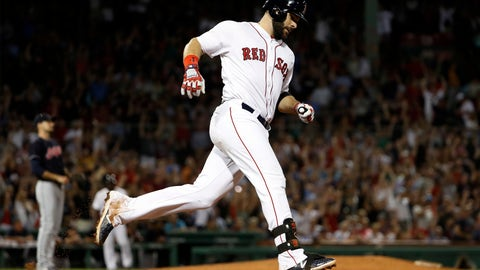 <p>               Boston Red Sox's Mitch Moreland rounds the bases after hitting a two-run home run off of Cleveland Indians relief pitcher Dan Otero, left, during the sixth inning of a baseball game Wednesday, Aug. 22, 2018, in Boston. (AP Photo/Winslow Townson)             </p>