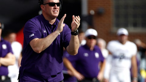 <p>               FILE - In this Oct. 14, 2017, file photo, Northwestern head coach Pat Fitzgerald stands on the sideline during the first half of an NCAA college football game against Maryland in College Park, Md. Northwestern opens the college football season on Thursday, Aug. 30, 2018 against Purdue. (AP Photo/Patrick Semansky, File)             </p>