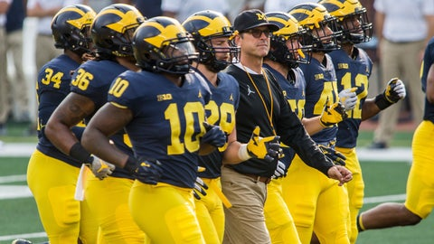 <p>               FILE - In this Sunday, Aug. 26, 2018, file photo, Michigan head coach Jim Harbaugh, center, walks the field as players jog around him during an open practice for the NCAA college football team at Michigan Stadium in Ann Arbor, Mich. Michigan plays Notre Dame on Saturday, Sept. 1, to open the college football season.  (AP Photo/Tony Ding, File)             </p>