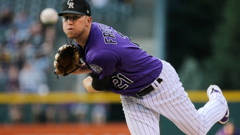 <p>               Colorado Rockies starting pitcher Kyle Freeland throws to the plate against the Pittsburgh Pirates during the first inning of a baseball game, Monday, Aug. 6, 2018, in Denver. (AP Photo/Jack Dempsey)             </p>