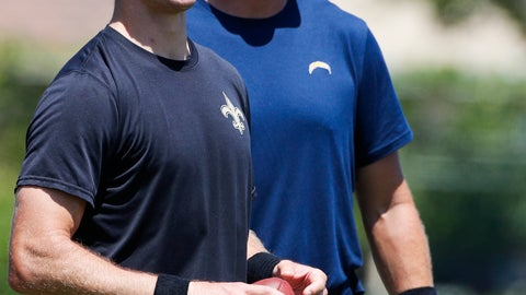<p>               New Orleans Saints quarterback Drew Brees, left, and Los Angeles Chargers quarterback Philip Rivers share a light moment after the teams' joint NFL football practice, Wednesday, Aug. 22, 2018, in Costa Mesa. (AP Photo/Jae C. Hong)             </p>