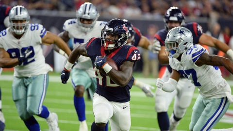 <p>               Houston Texans running back Terry Swanson (42) scores a touchdown against the Dallas Cowboys on a 37-yard run during the second half of a preseason NFL football game Thursday, Aug. 30, 2018, in Houston. (AP Photo/George Bridges)             </p>