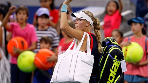 <p>               Caroline Wozniacki, of Denmark, waves as she leaves the court after losing to Lesla Tsurenko, of Ukraine, during the second round of the U.S. Open tennis tournament, Thursday, Aug. 30, 2018, in New York. (AP Photo/Adam Hunger)             </p>