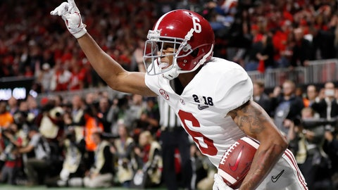 <p>               FILE - In this Jan. 8, 2018, file photo, Alabama wide receiver DeVonta Smith (6) celebrates his touchdown during overtime of the NCAA college football playoff championship game against Georgia, in Atlanta. The AP preseason Top 25 is out, and for the third straight year Alabama is No. 1. (AP Photo/David Goldman, File)             </p>