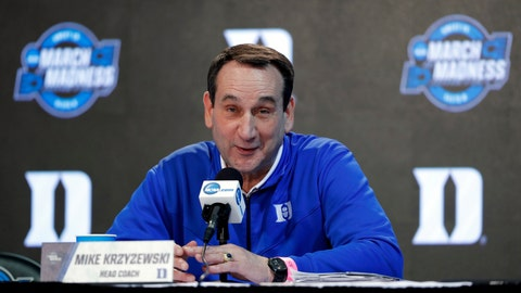 """<p>               FileThis March 22, 2018, file photo shows Duke head coach Mike Krzyzewski speaking during a news conference at the NCAA men's college basketball tournament in Omaha, Neb.  Krzyzewski doesn't believe the NCAA coordinated its reforms well enough. Speaking two days after the governing body announced numerous changes following a high-profile corruption scandal in college basketball, Krzyzewski on Friday, Aug. 10, 2018, said he approves the intent behind the changes but added that """"they don't have a plan of execution."""" Among the notable changes, the NCAA included provisions allowing agent relationships.(AP Photo/Charlie Neibergall, File)             </p>"""