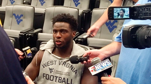 <p>               In this Monday, Aug. 6, 2018 photo, West Virginia wide receiver Gary Jennings speaks with the media in Morgantown, W.Va. Jennings was fourth in the Bowl Subdivision with 97 receptions last season. But he had only one touchdown catch and is looking for more this season. (AP Photo/John Raby)             </p>