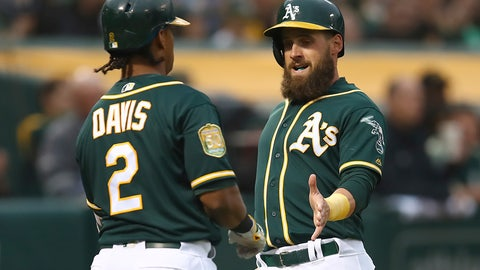 <p>               Oakland Athletics' Nick Martini, right, celebrates with Khris Davis (2) after scoring against the Texas Rangers in the first inning of a baseball game Tuesday, Aug. 21, 2018, in Oakland, Calif. Martini scored on a single by A's Jed Lowrie. (AP Photo/Ben Margot)             </p>