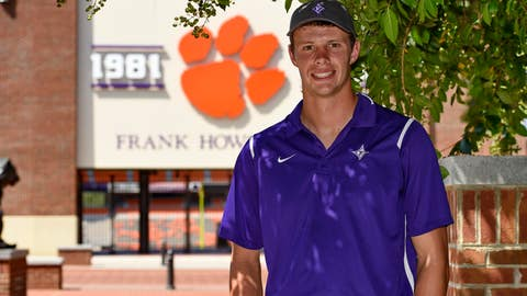 <p>               In this Monday, Aug. 27, 2018, photo, Furman quarterback and Clemson engineering student Harris Roberts poses for a photo on the Clemson campus, in Clemson, S.C. Roberts' worlds will collide on Saturday, Sept. 1 when he and his Furman teammates play at Clemson in the NCAA college football season opener for both teams. (AP Photo/Richard Shiro)             </p>