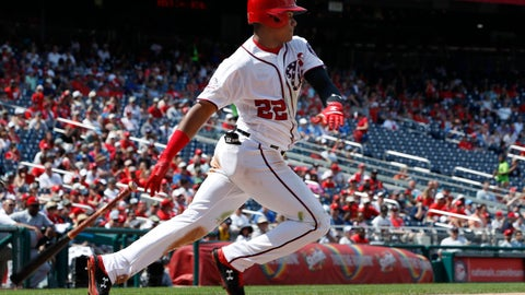 <p>               Washington Nationals' Juan Soto (22) hits a pitch during the fifth inning of a baseball game against the Cincinnati Reds at Nationals Park, Sunday, Aug. 5, 2018, in Washington. (AP Photo/Jacquelyn Martin)             </p>