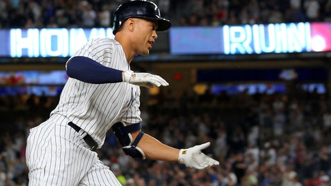 <p>               New York Yankees' Giancarlo Stanton rounds third base after he hit a two-run home run during the third inning against the Detroit Tigers in a baseball game Thursday, Aug. 30, 2018, at Yankee Stadium in New York. It was Stanton's 300th career home run. (AP Photo/Rich Schultz)             </p>