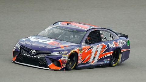 <p>               Denny Hamlin qualifies for a NASCAR Cup Series auto race at Michigan International Speedway in Brooklyn, Mich., Friday, Aug. 10, 2018. Hamlin won the pole position. (AP Photo/Paul Sancya)             </p>