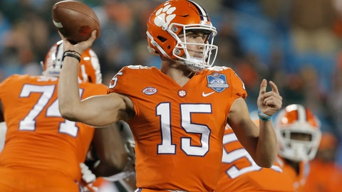 <p>               FILE - In this Saturday, Dec. 2, 2017 file photo, Clemson's Hunter Johnson (15) looks to pass against Miami during the second half of the Atlantic Coast Conference championship NCAA college football game in Charlotte, N.C. (AP Photo/Bob Leverone, File)             </p>