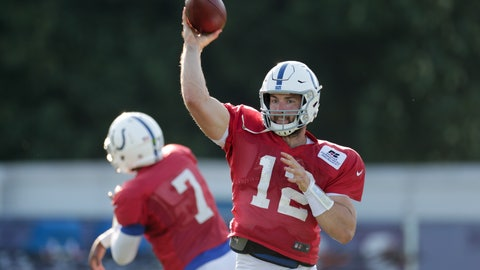 <p>               Indianapolis Colts quarterback Andrew Luck (12) throws during practice at the NFL team's football training camp in Westfield, Ind., Monday, Aug. 6, 2018. (AP Photo/Michael Conroy)             </p>