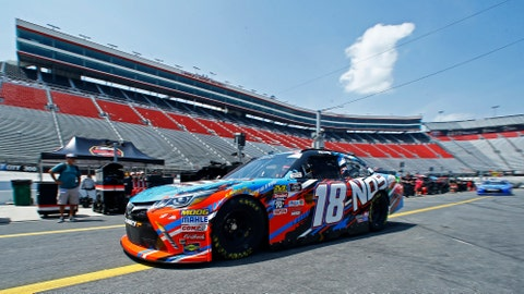 <p>               Kyle Busch makes his way down pit road to the track during practice for a NASCAR Xfinity Series auto race on Thursday, Aug. 16, 2018, in Bristol, Tenn. (AP Photo/Wade Payne)             </p>