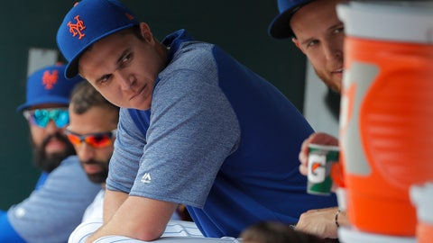 <p>               New York Mets starting pitcher Jacob deGrom (48) sits in the dugout during the eighth inning of a baseball game against the Cincinnati Reds, Wednesday, Aug. 8, 2018, in New York. deGrom struck out 10 in six innings and held the Reds scoreless in the Mets 8-0 win. (AP Photo/Julie Jacobson)             </p>